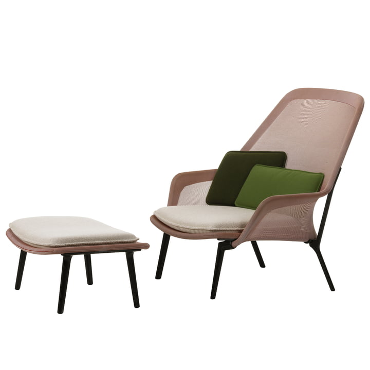 Vitra - Slow Chair & Ottoman, aubergine, red / cream
