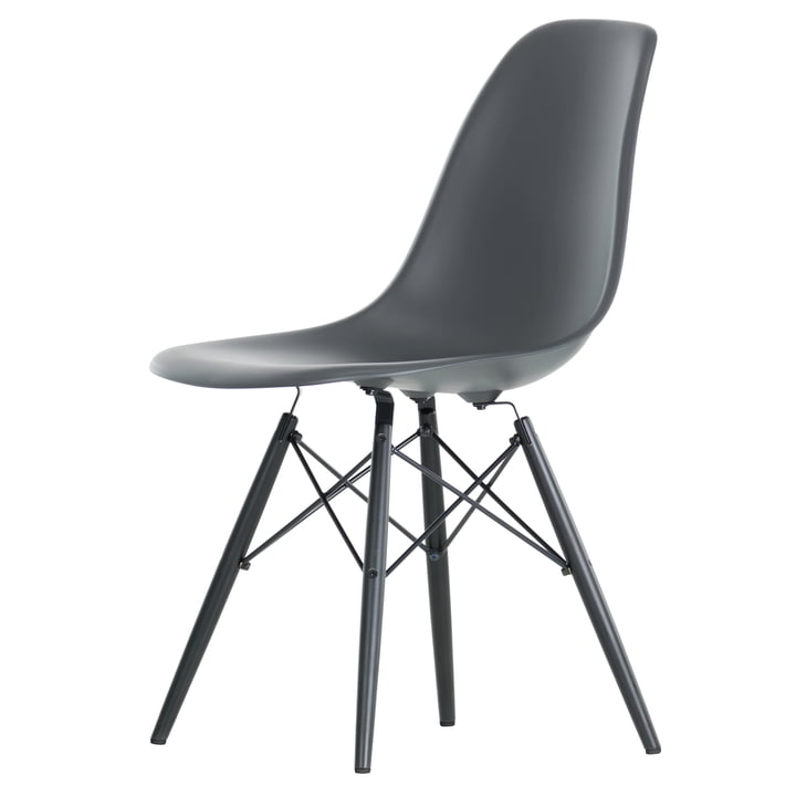 Vitra - Eames Plastic Side Chair DSW, black maple / basalt
