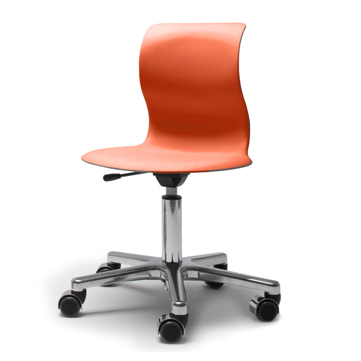 Flötotto, Pro 4 and 5 swivel base chrome-plated, seat coral