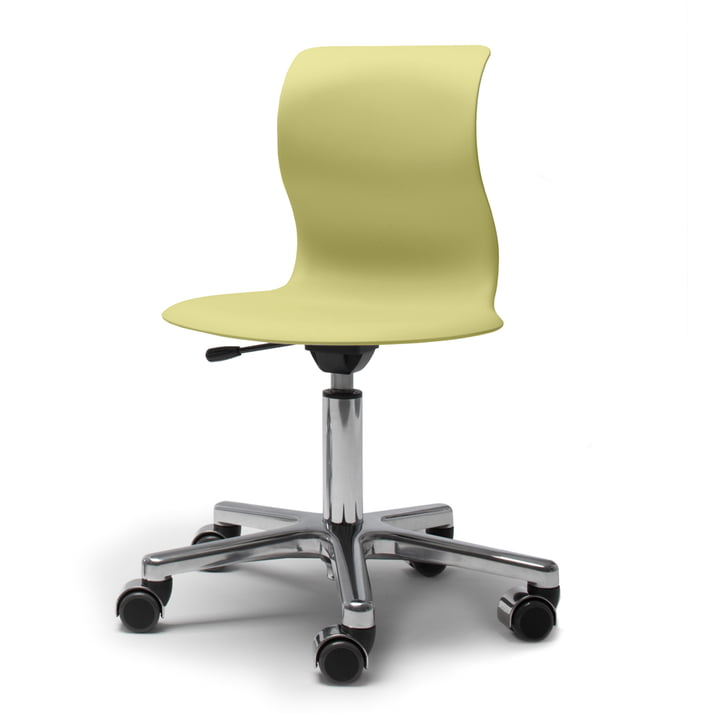 Flötotto, Pro 4 and 5 swivel chair chrome, kiwi green seat