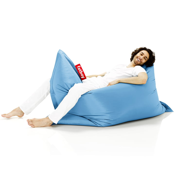 Fatboy, Original beanbag - situation with woman on beanbag, light blue