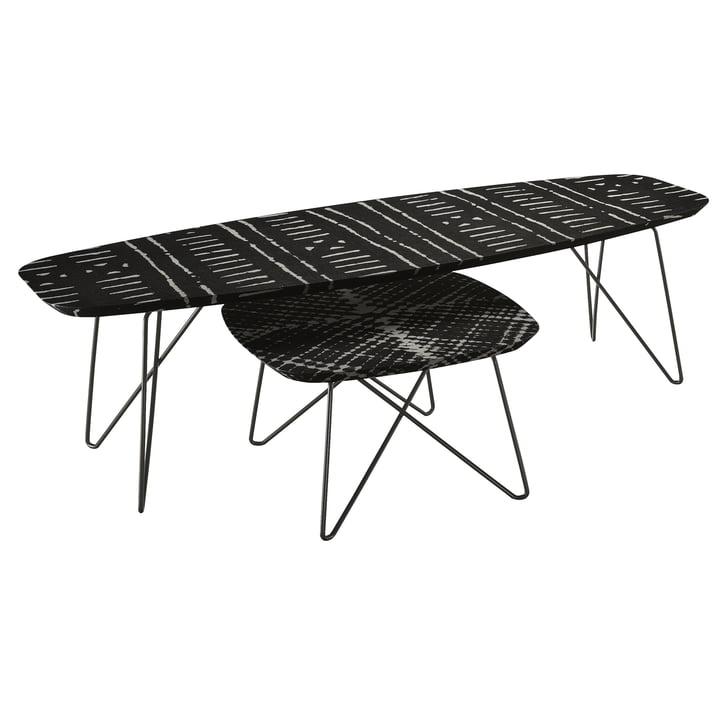 Zanotta - Ink  side table, 60, Raute, 160 h45, Streif, black