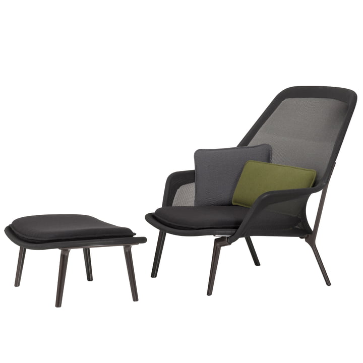Vitra - Slow Chair & Ottoman, aubergine / Tricot black