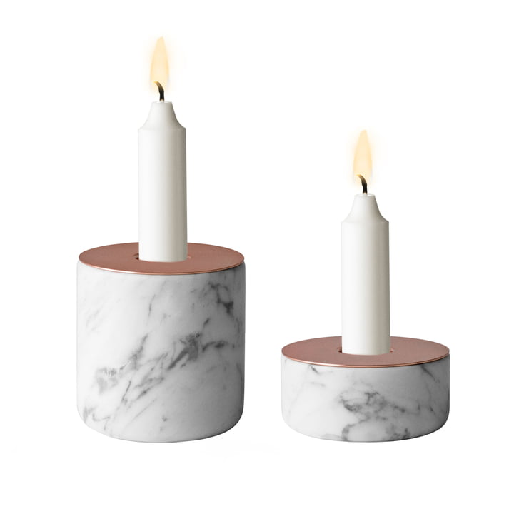 Menu - Chunk of Marble, both sizes - with candle