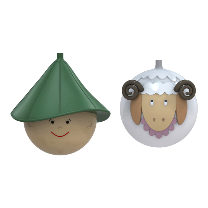 A di Alessi - Pastorello and Pecorello Christmas Bauble Set