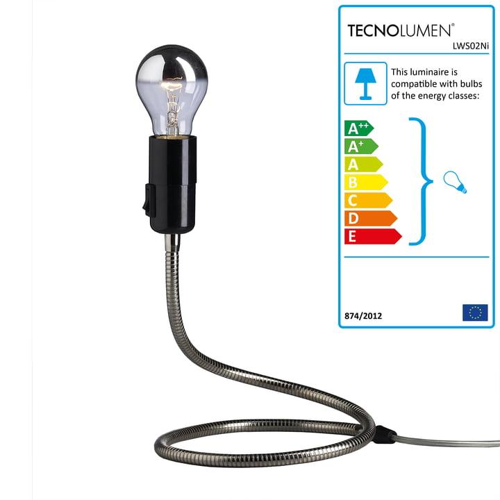 Tecnolumen - Lightworm Table Lamp, nickel plated