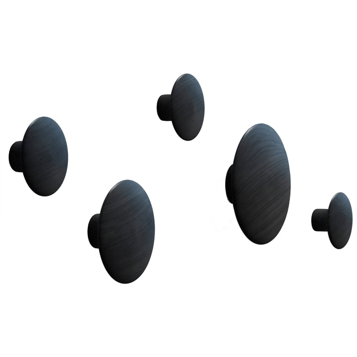 "Muuto - Coat Hooks ""The Dots"" set of 5, black"