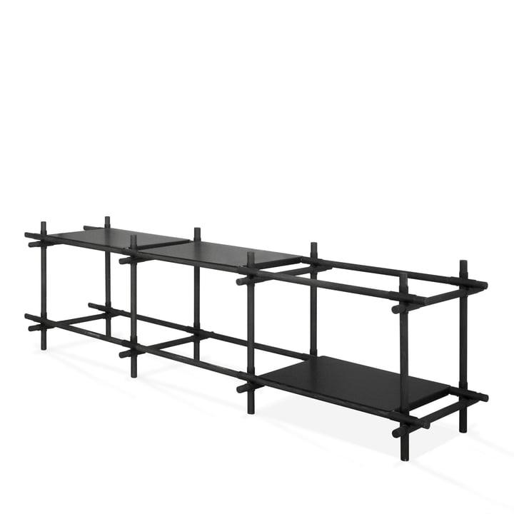 Menu - Stick System, shelf, black / dark ash, 3 x 2