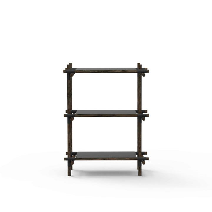 Menu - Stick System, shelf, black / dark ash, 1 x 3