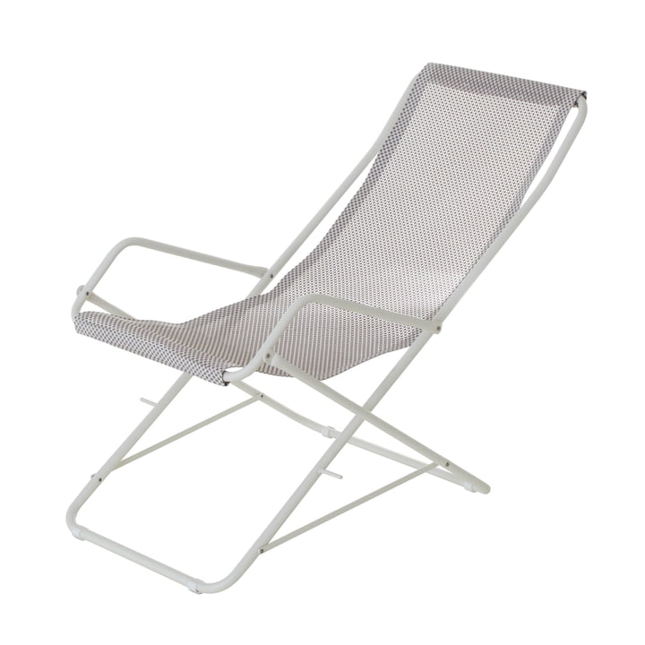 Bahama deckchair by Emu in white / ice