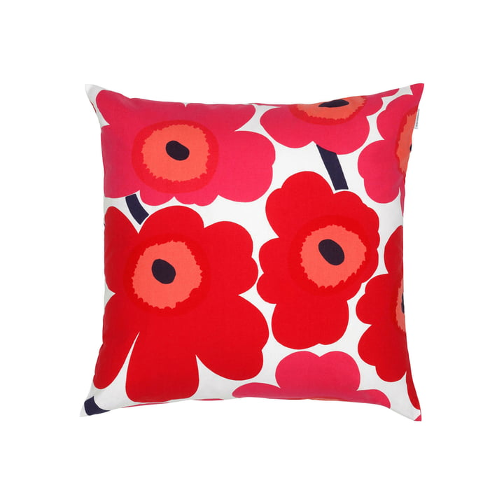 Pieni Unikko Cushion Cover 50 x 50 cm in White / Red