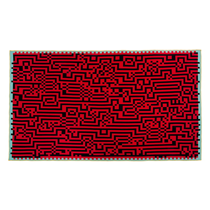 Zuzunaga - Barcelona Woollen Blanket, red / black