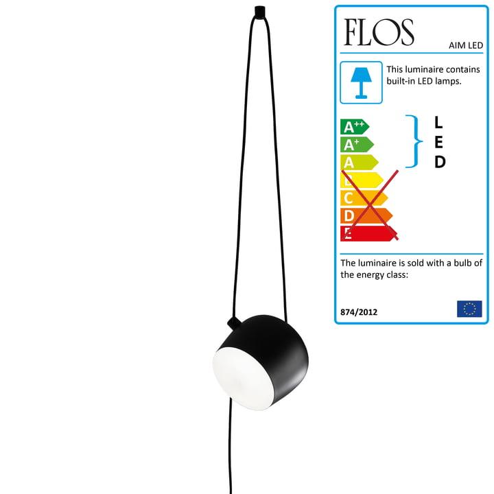 Flos - AIM LED-Pendant Lamp with plug cable, black