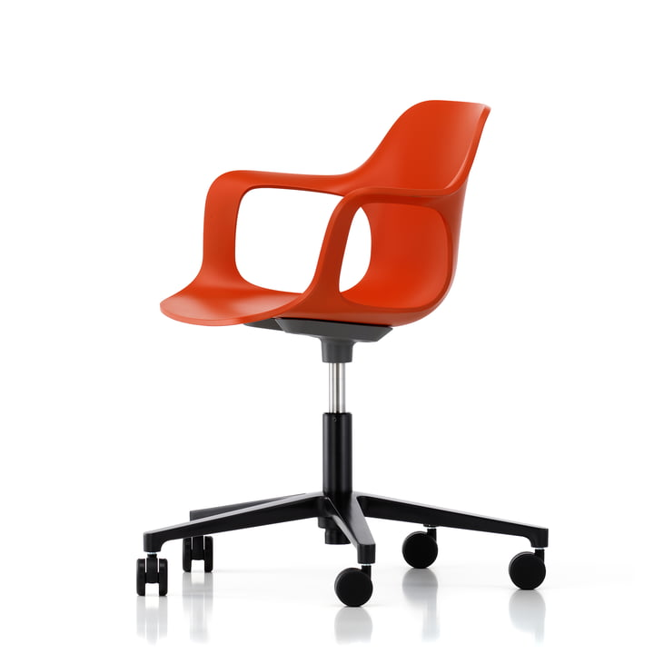 Hal Studio office swivel chair by Vitra in red-orange