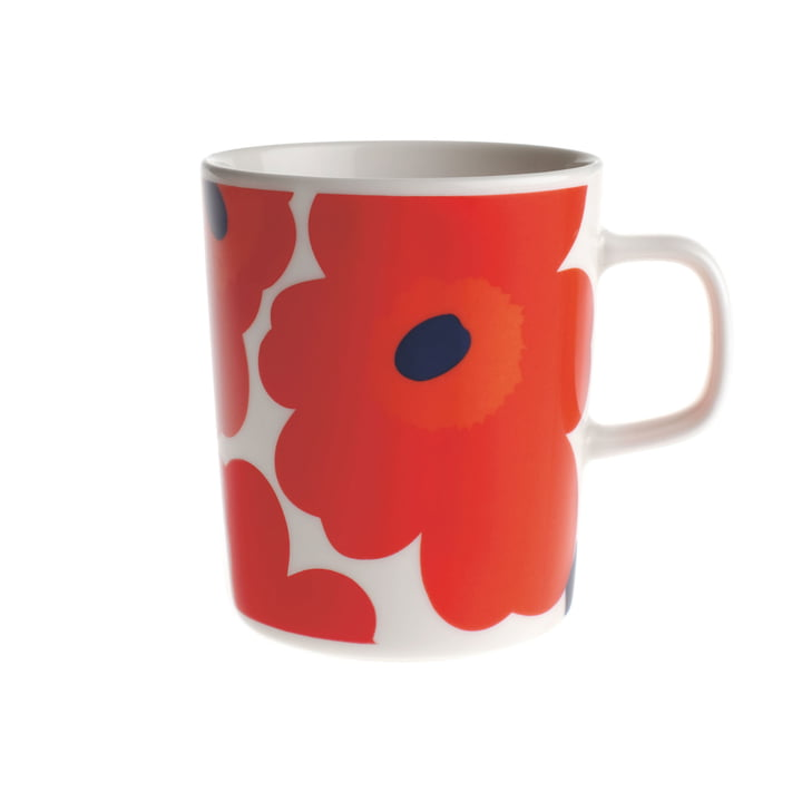 Marimekko - Pieni Unikko Cup with handle, white / red