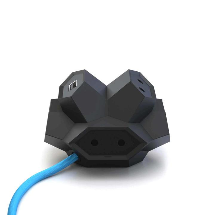 DiamondPlug - USB Multiple Socket, black / blue
