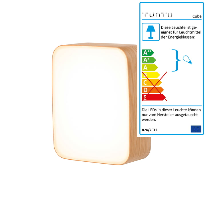 Cube S wall lamp by Tunto in untreated oak wood