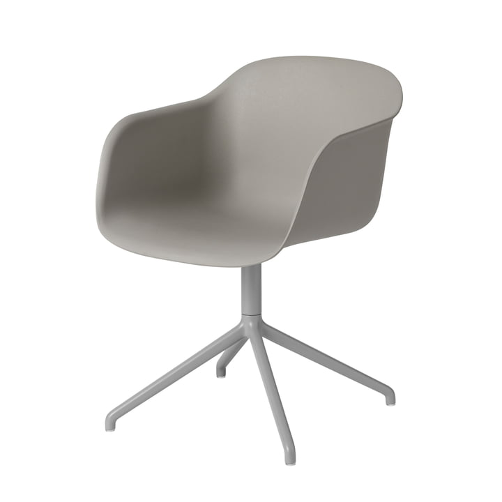 Muuto - Fiber Chair - Swivel Base, grey / grey