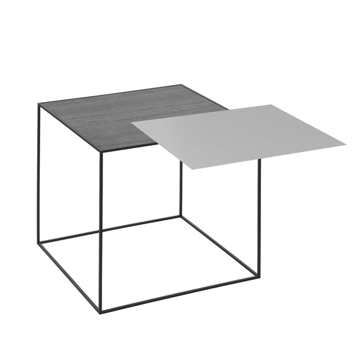 by Lassen - Twin 42 side table, black ash/cool grey