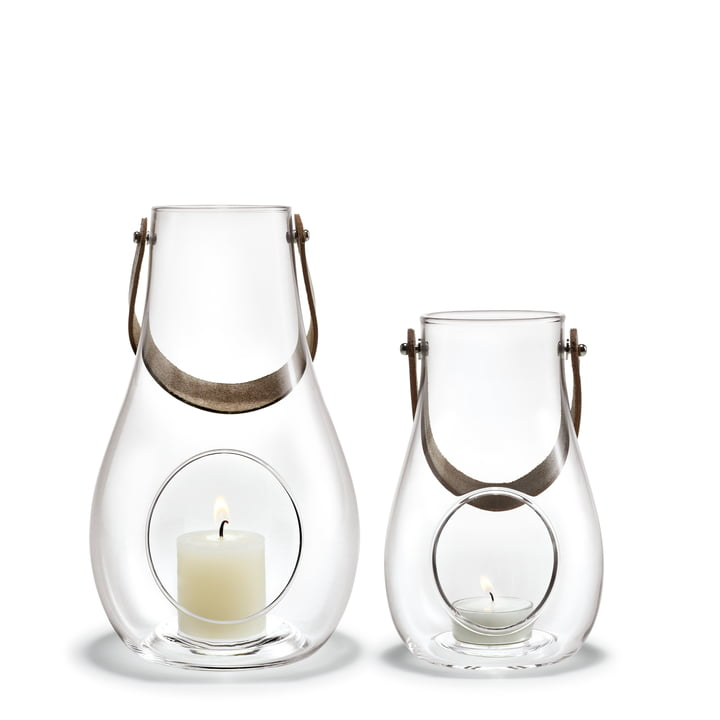 Design with light Lantern (Set of 2) H 16 cm + 25 cm from Holmegaard in clear