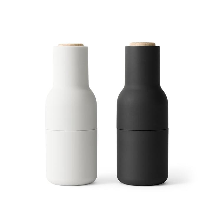 Bottle Salt and pepper mill set from Menu in Ash / Carbon (wooden lid)