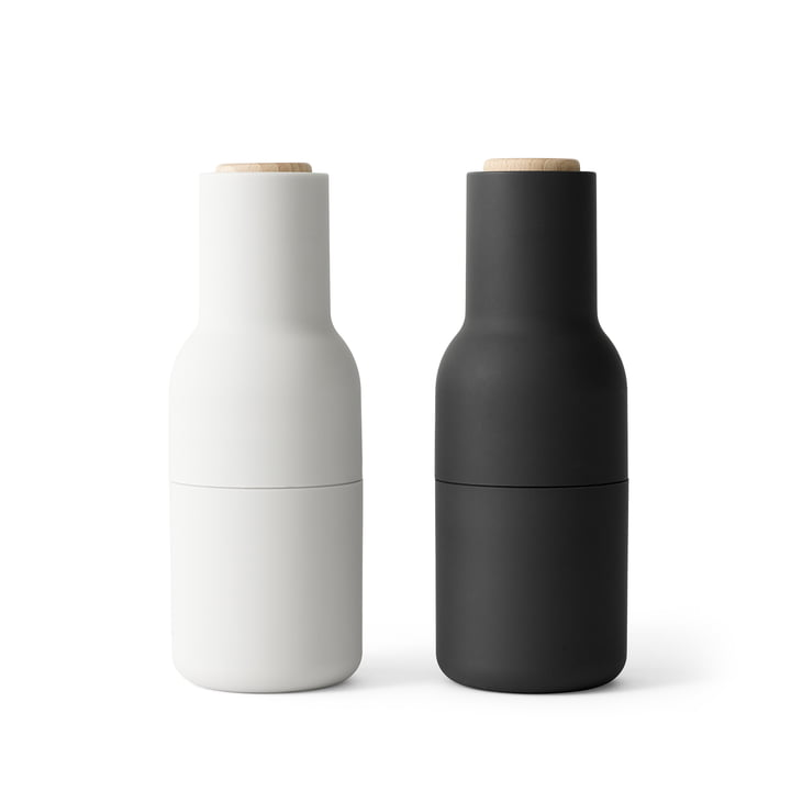 Bottle salt and pepper mills set from Menu in Ash / Carbon (wooden lid)