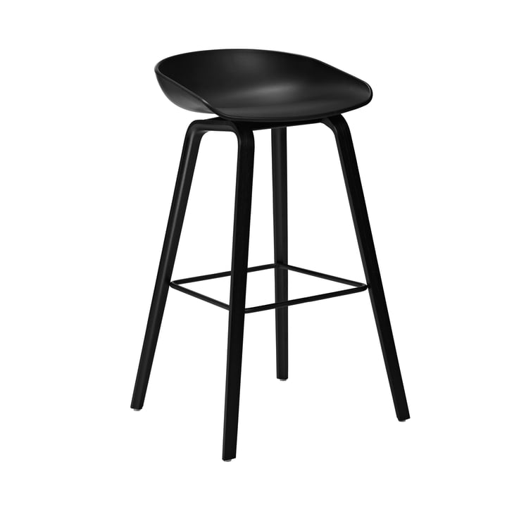 About A Stool AAS 32 from Hay in black stained / steel black / black