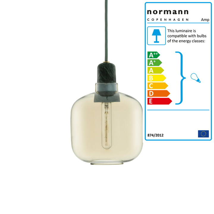 Amp pendant lamp small from Normann Copenhagen in Gold / Green