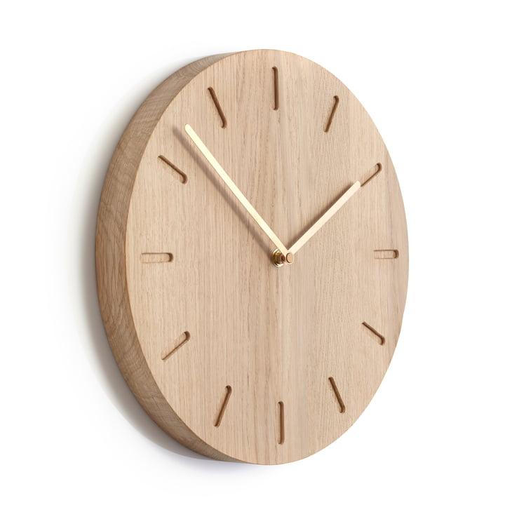 Applicata - Watch:Out Wall Clock Oak, Brass