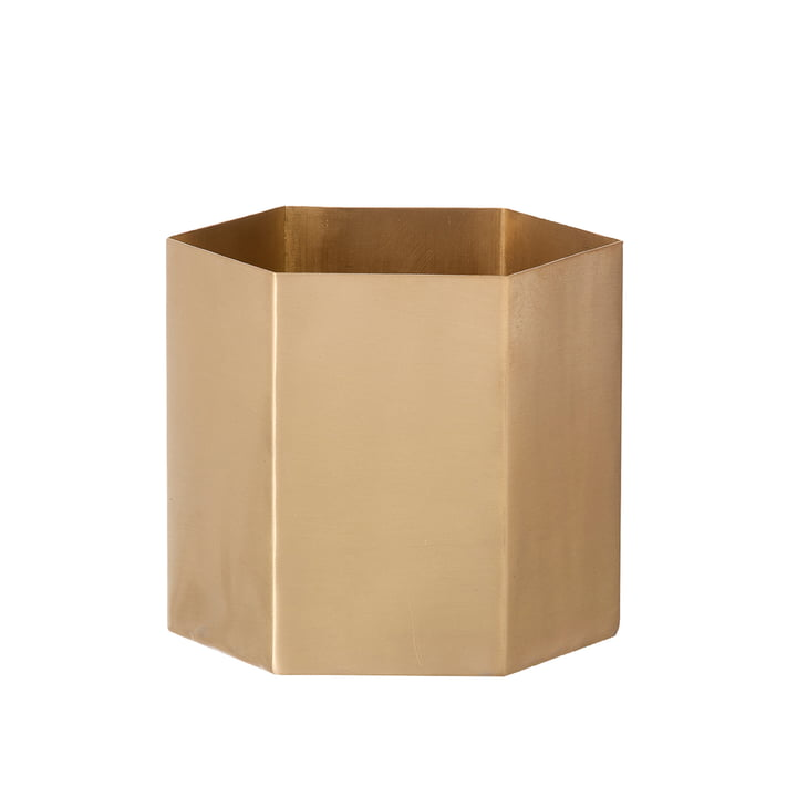 Hexagon Flowerpot Large by ferm Living made of Brass