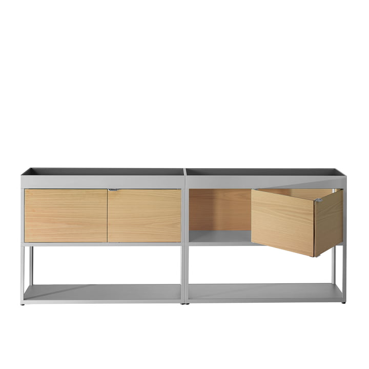 Hay - New Order Sideboard, double with shelf, light grey with oak doors