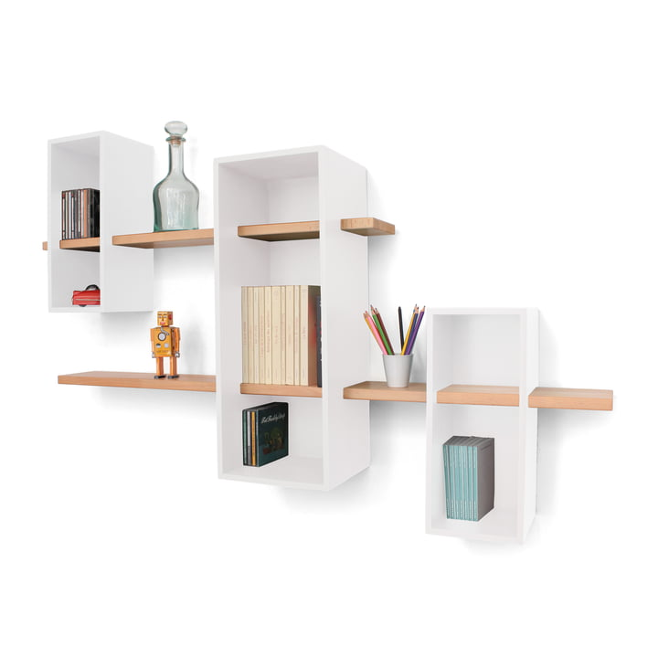 Edition Compagnie - Max shelf EM 02 XL, white / beech