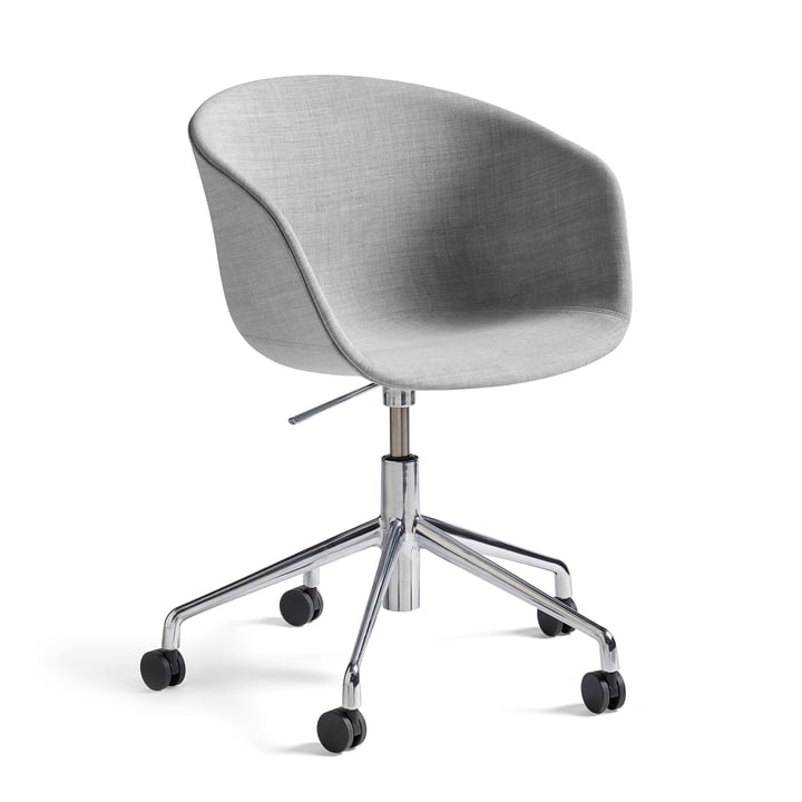 Hay - About A Chair AAC 53 with gas pressure height adjustment, remix light gray (123) / polished