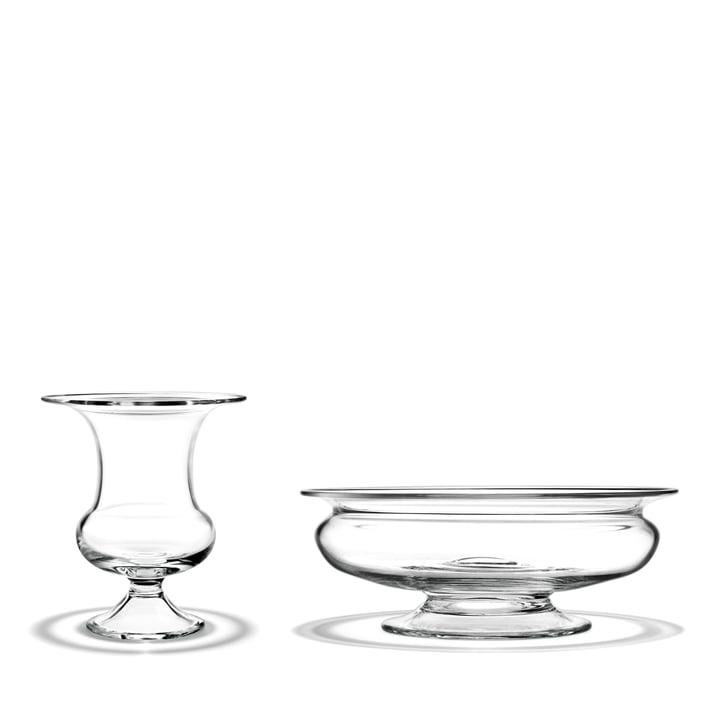 Holmegaard - Old English Vase + Flower Bowl, 19 cm