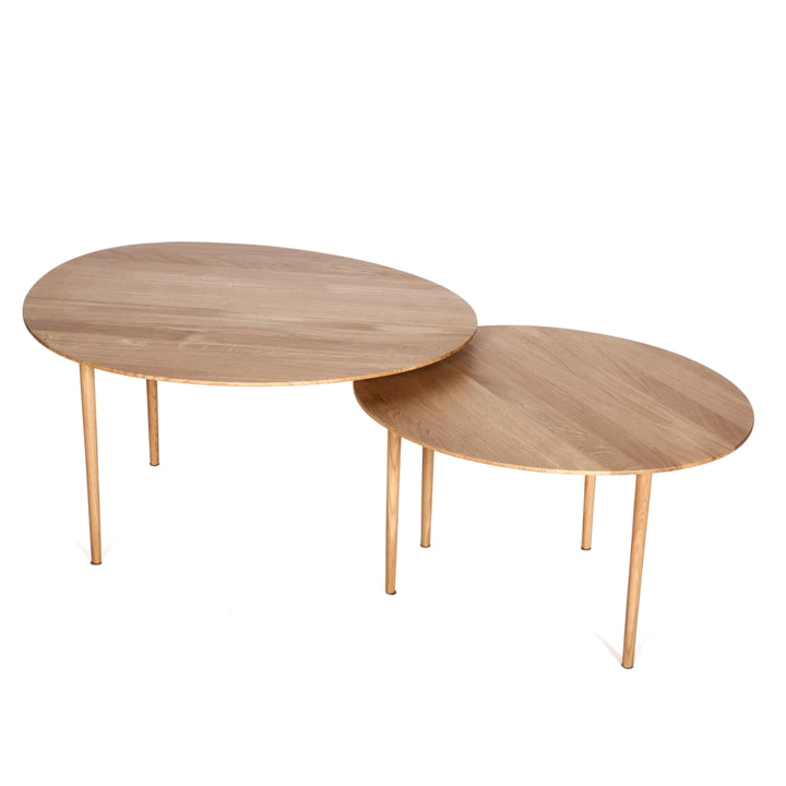 Hans Hansen - Nenufar Side Table Set of 2, solid oak, top view