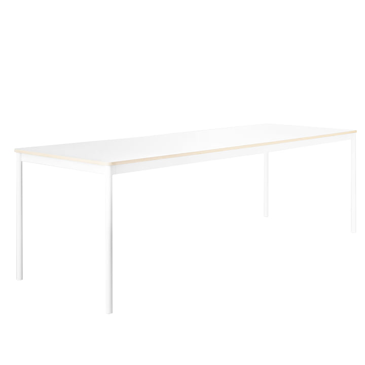 Muuto - Base Table, frame: white, top: white, plywood edge