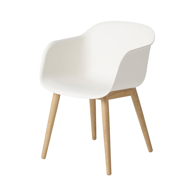 Fiber Chair Wood Base from Muuto in oak / white