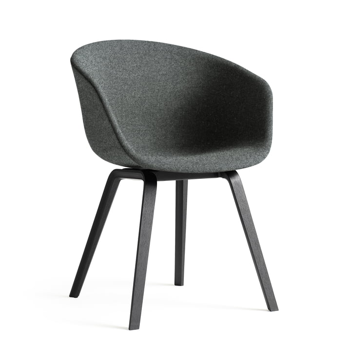 Hay - About A Chair AAC 23, wooden four-feet-base / completely upholstered Divina Melange 2 Colour 170