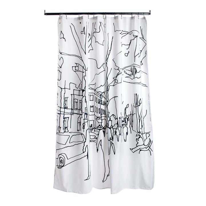 Marimekko - Hetkiä / Moments Shower Curtain, white / black