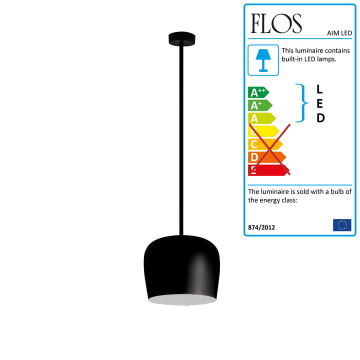 Flos - AIM Small LED Pedant Lamp Fix, black