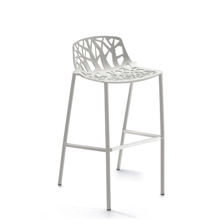 Fast - Forest bar stool high with low backrest, white