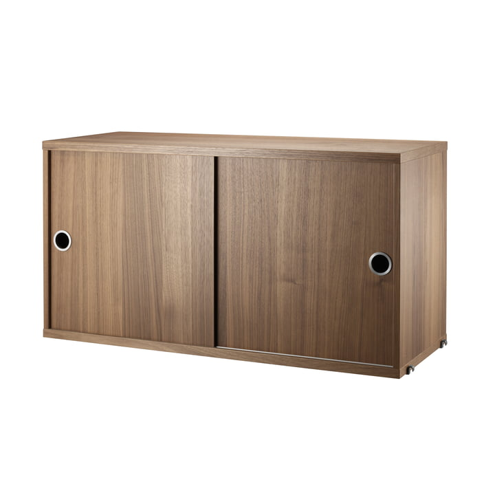 String - Cupboard with Sliding Doors, walnut