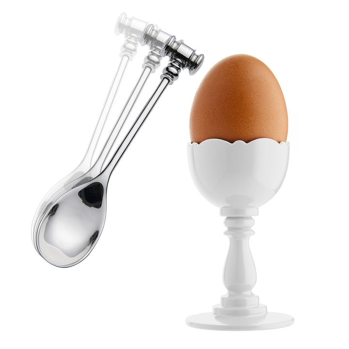 Alessi - Dressed Eggcup with Spoon, white