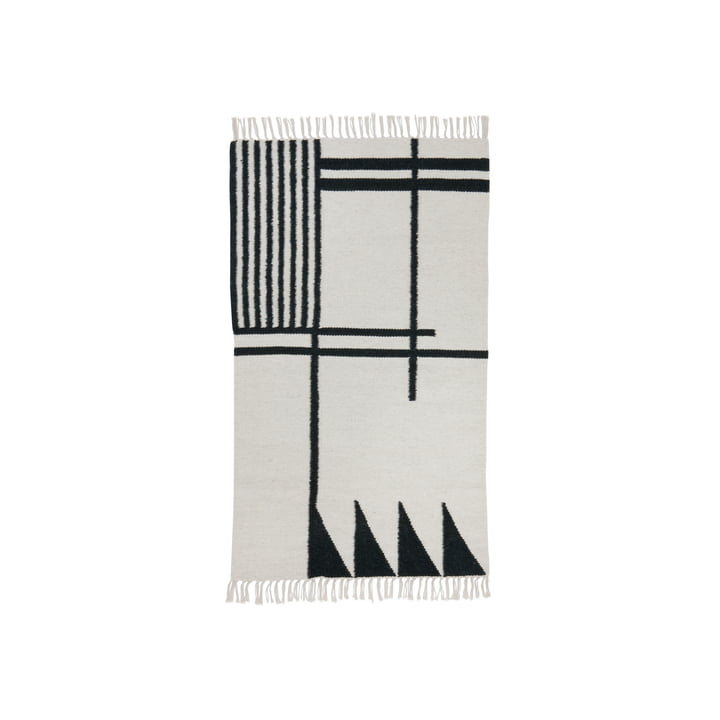 ferm living - Kelim Rug, black lines, small