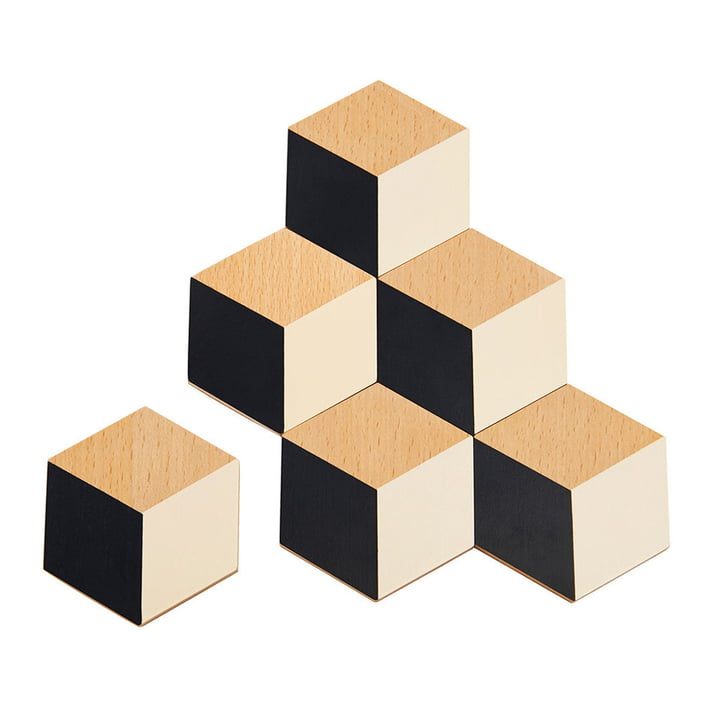 Areaware - Coasters Table Tiles in black / beige (set of 6)