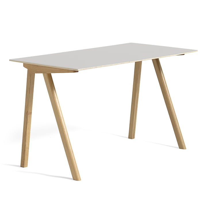 Copenhague CPH90 Desk 130 x 65 cm, soaped oak with linoleum in cream white (Mushroom 4176) by Hay