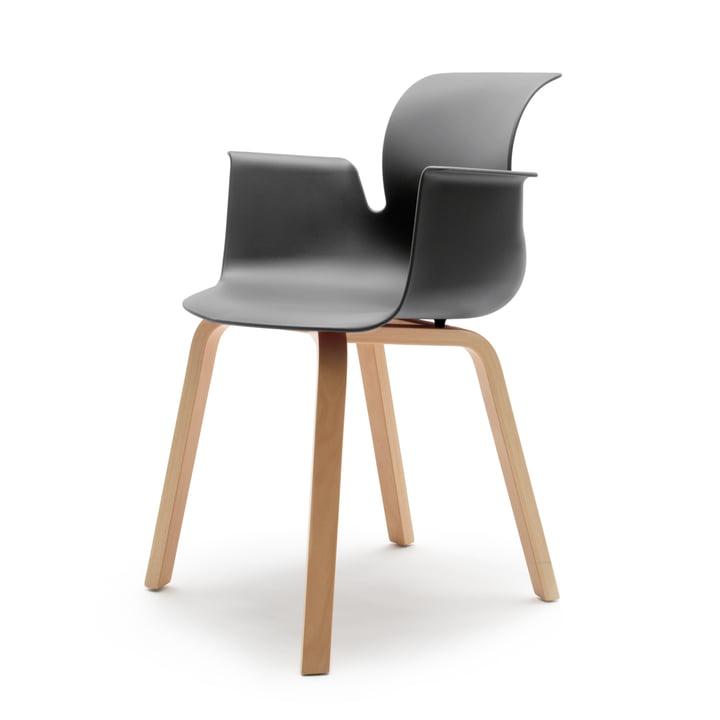 Flötotto - Pro 6 Armchair Four-legged wooden frame, beech natural / graphite, felt glides
