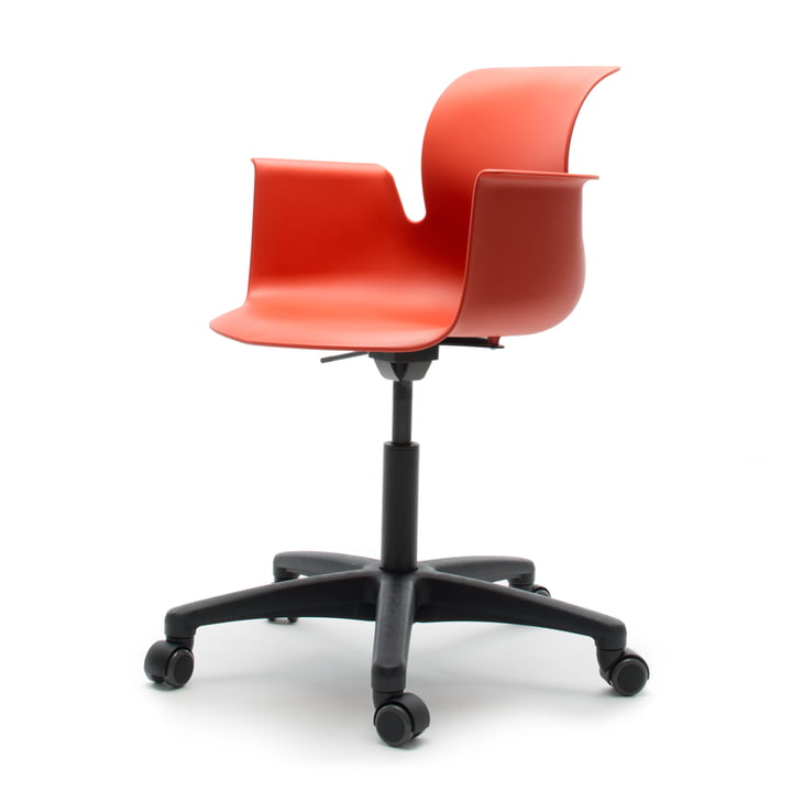 Flötotto - Pro 6 Armchair Swivel Chair, Polyamid / coral red