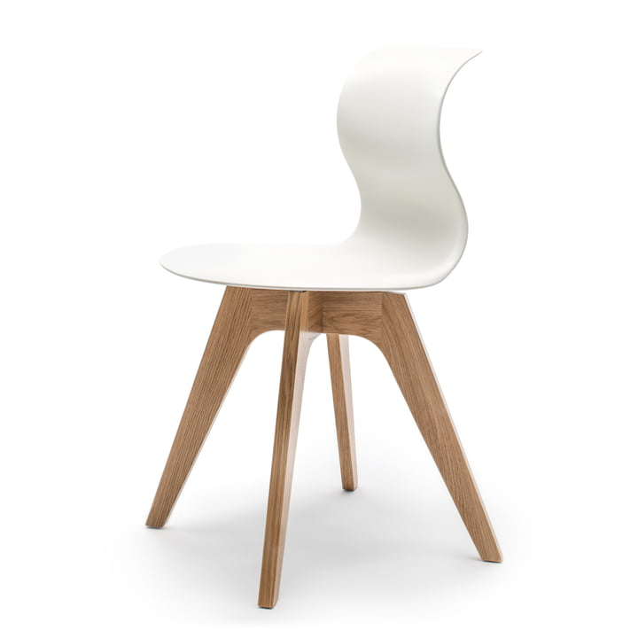 Flötotto - Pro 6 Chair, four-star wooden frame oak nature / snow-white, felt glides