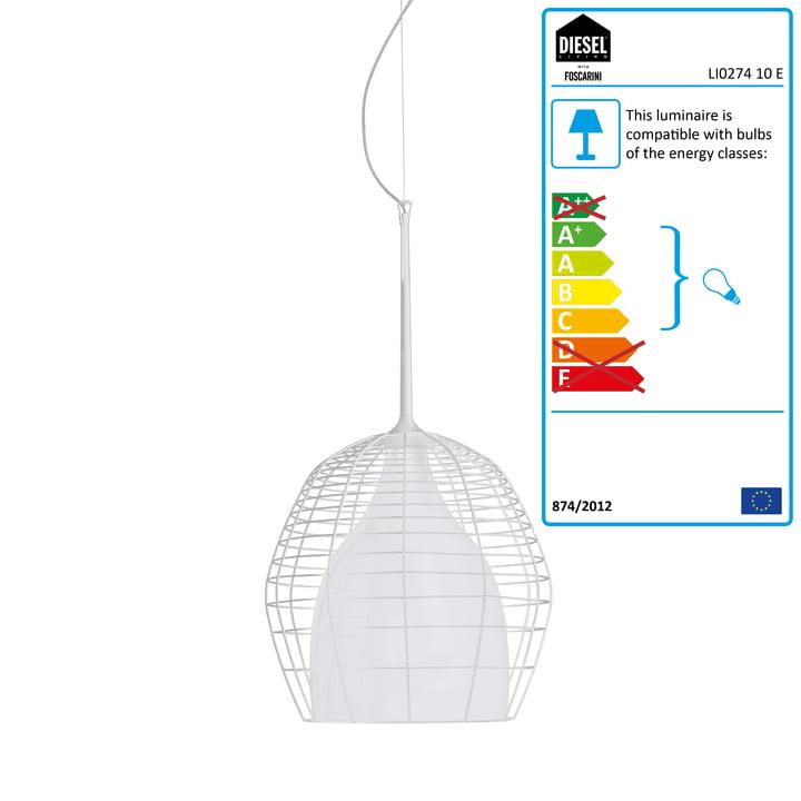 Diesel Living - Cage Pendant Light small, white / white
